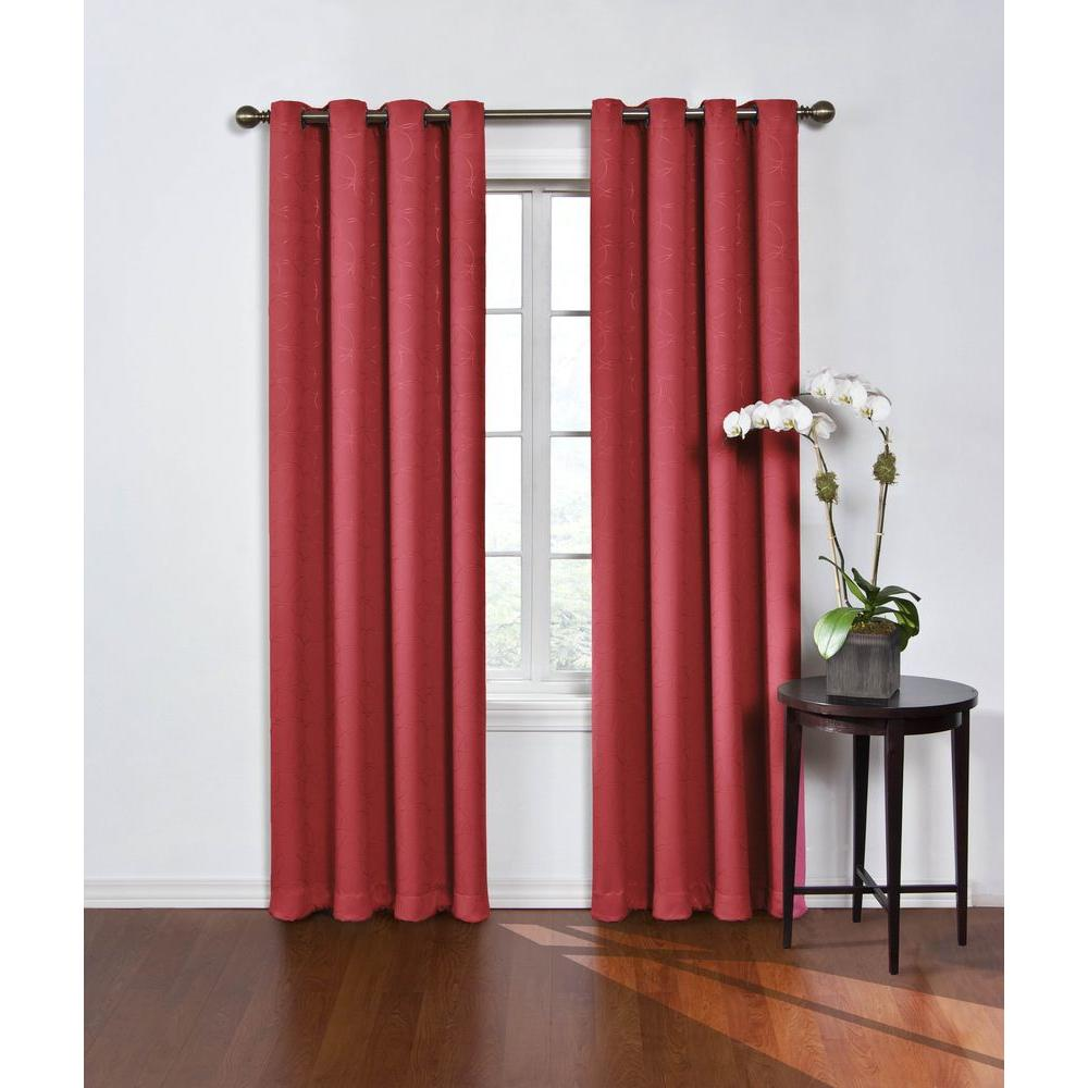 Eclipse Round And Round Blackout Window Curtain Panel In Wine Red