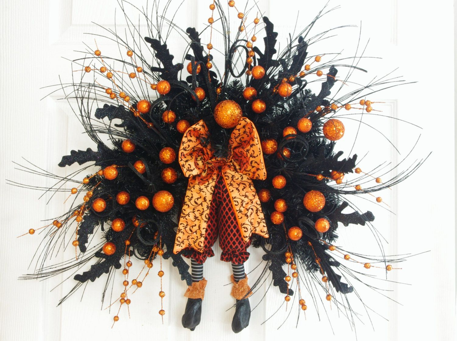 Halloween Swag * Orange and Black Swag * Witch Legs Wreath - Witch Decorations For Halloween