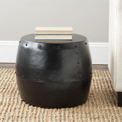 Safavieh Cerium Drum Accent Stool Stool Sofa End Tables Black End Tables