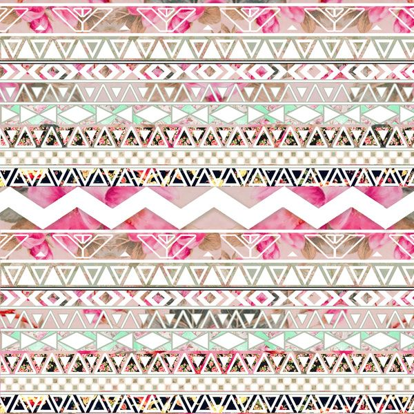 Spring Time! | Girly Pink White Floral Abstract Aztec Pattern Art Print by Girly Trend | Society6