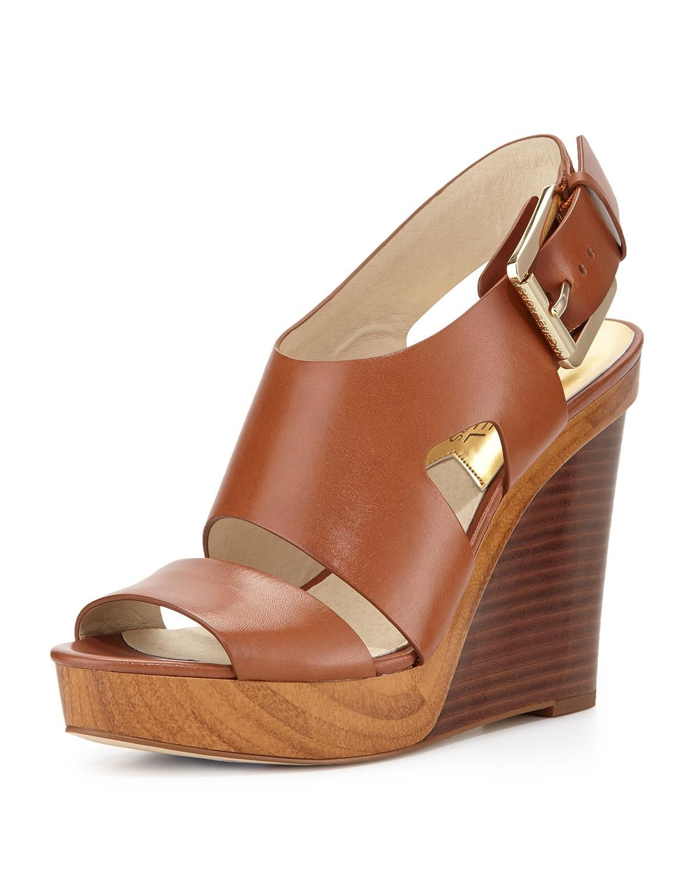 Wedge sandals, Leather peep toe wedges