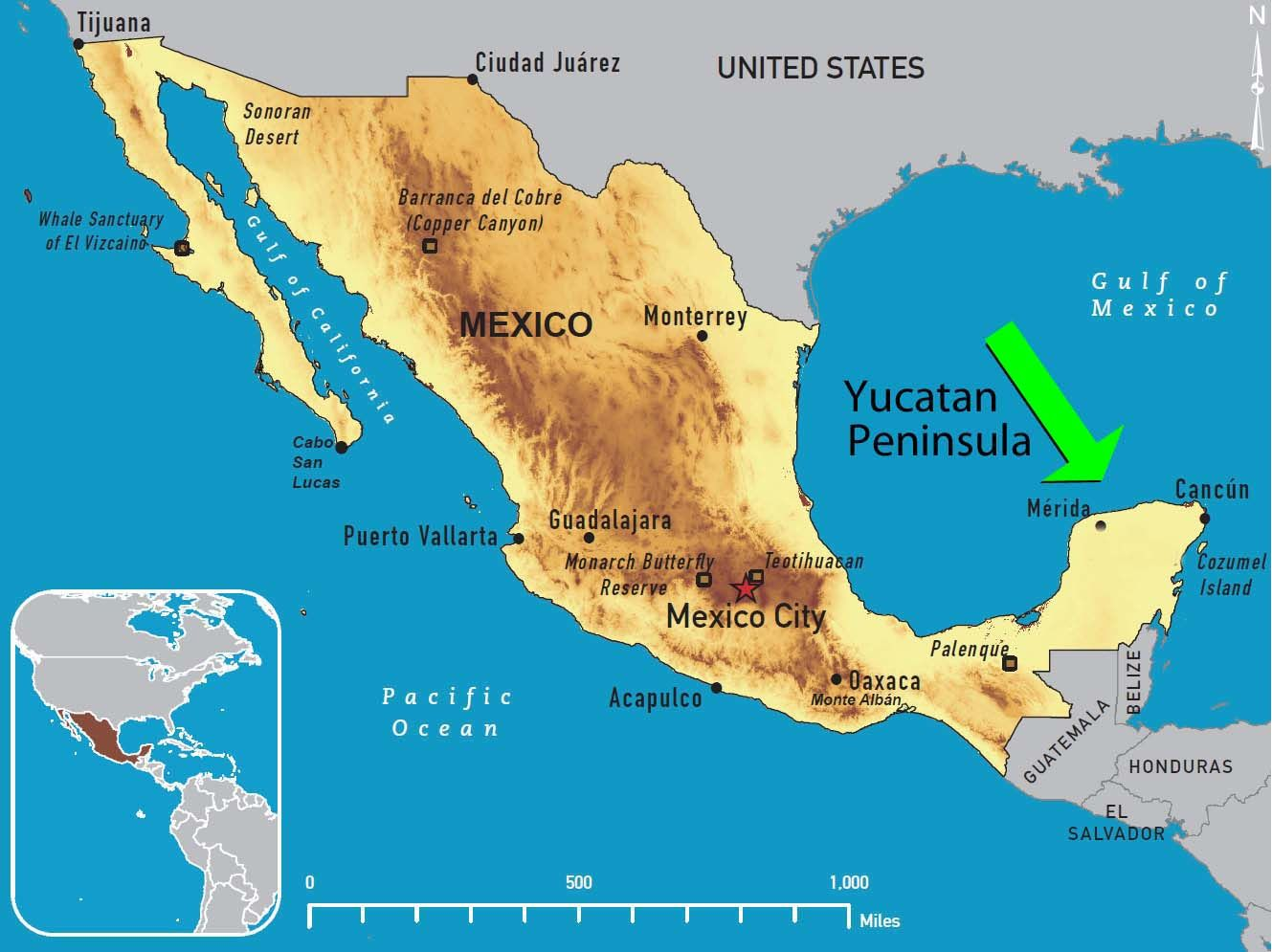 Yucatan Peninsula Map From 3 8 Mexicomap Mexico