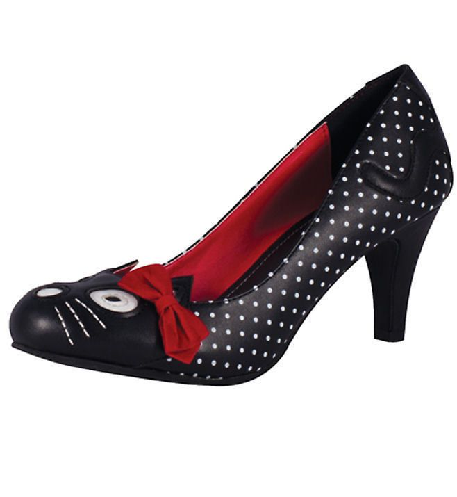 Dot Heels Fashion Polka Tuk Rockabilly Kitty 50s Black 1PCTwqxR
