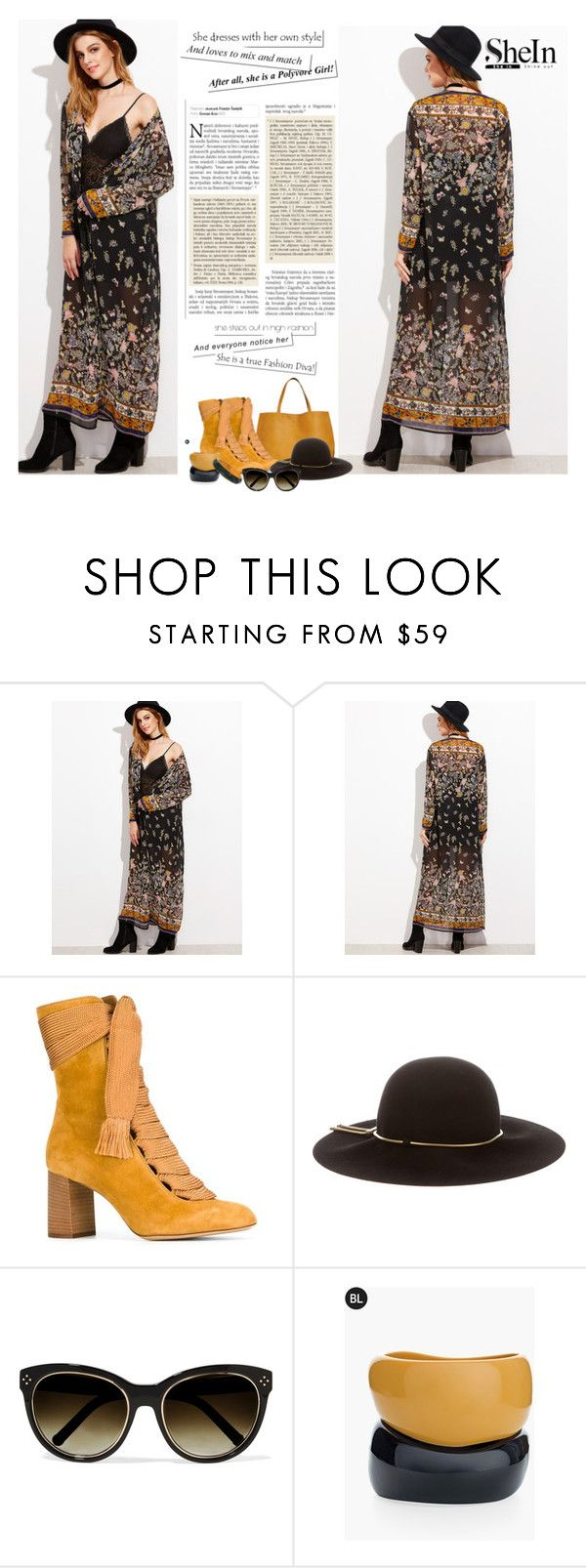"""""""shein.com/Black-Botanical-Print-Maxi-Kimono"""" by lorrainekeenan ❤ liked on Polyvore featuring Chloé, Lanvin and Chico's"""
