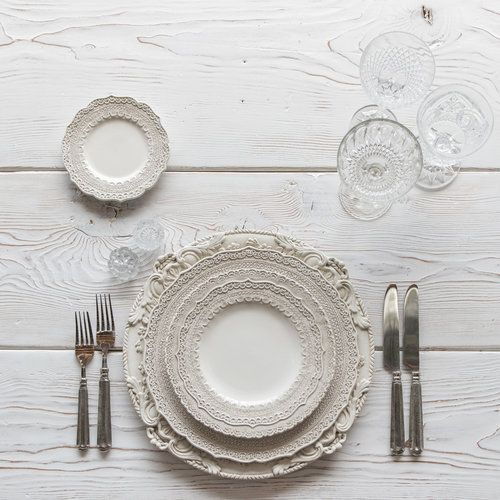 RENT Verona Chargers in Antique White + Lace Dinnerware in White + Tuscan Flatware in & RENT: Verona Chargers in Antique White + Lace Dinnerware in White ...