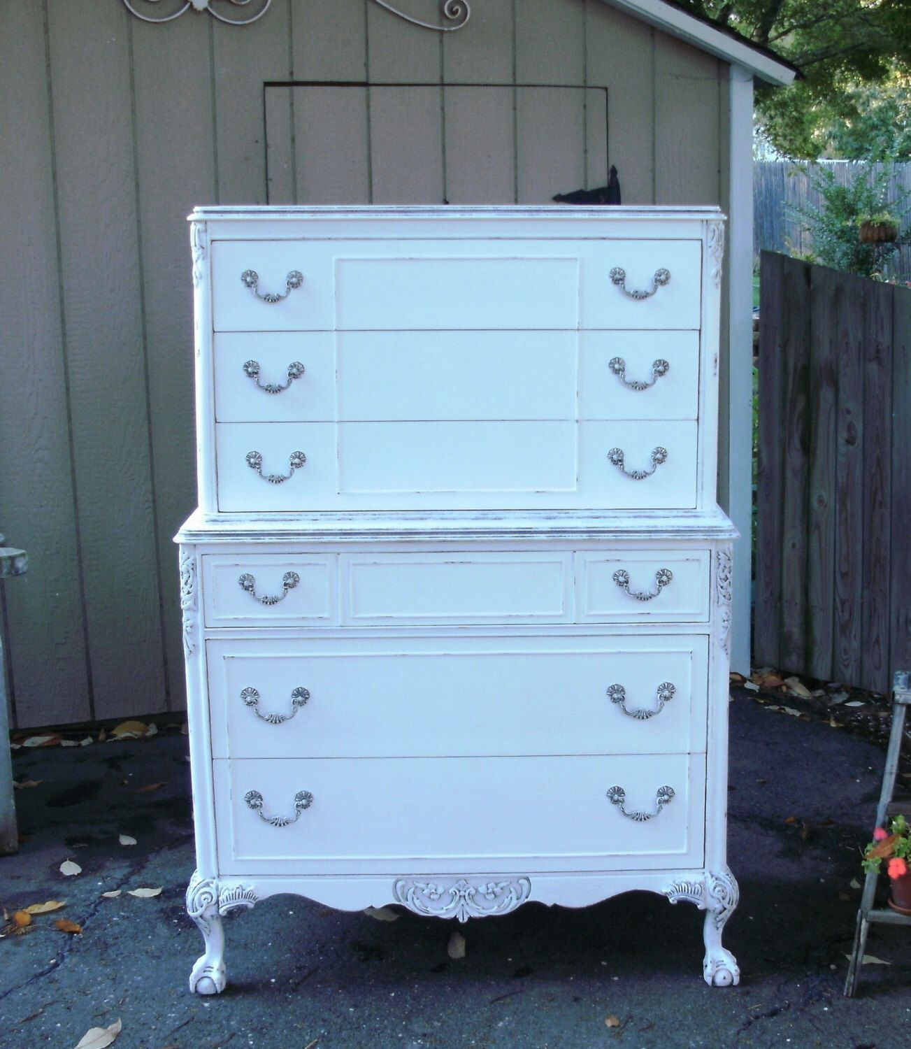 Vintage White Highboy Dresser Shabby Chic Painted Furniture By Seasidefurniture On Etsy