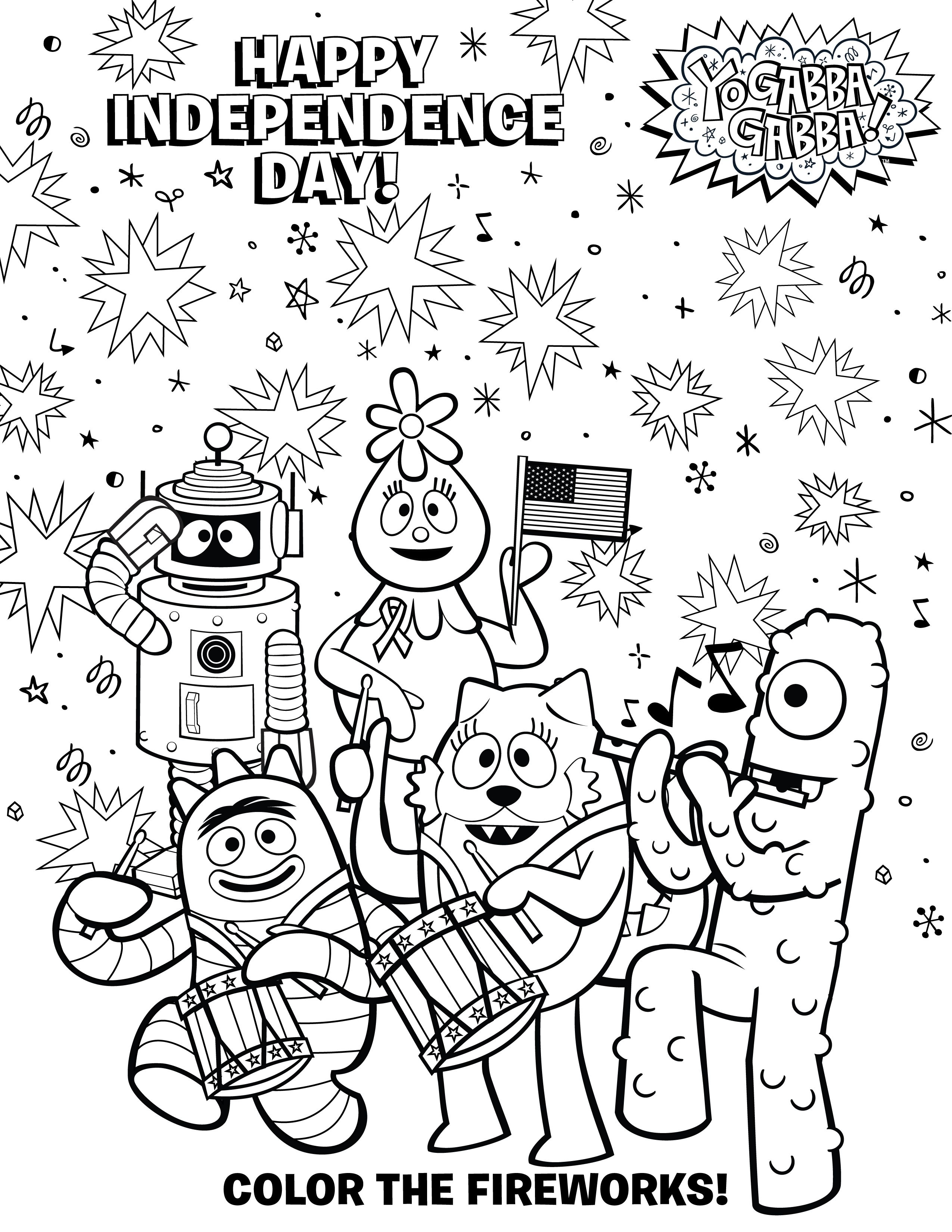 Yo Gabba Coloring Sheet Of July