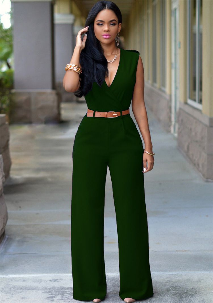 ab5779b4a6e ITCQUALITY DEEP V WOMENS ROMPERS JUMPSUITS SLEEVELESS ELEGANT WITH BELT  ITC1100. - Jumpsuits   Rompers