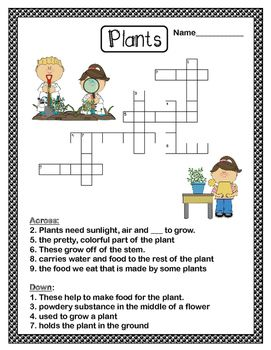 Free Plants Crossword Puzzle Free Plants Free Fun Science