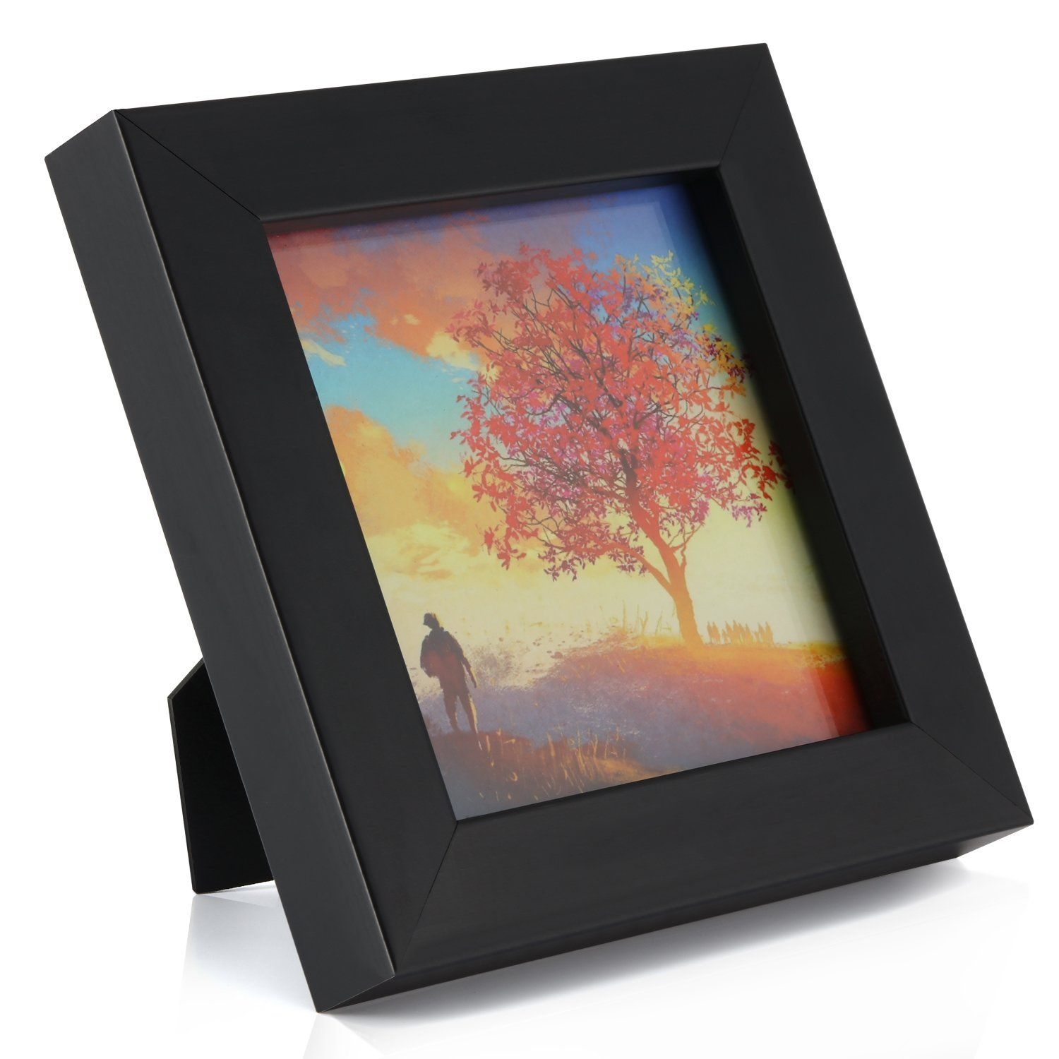 1pcs 4x4 Black Picture Frame Clear Glass Well PackedWindow 3.6x3.6 ...