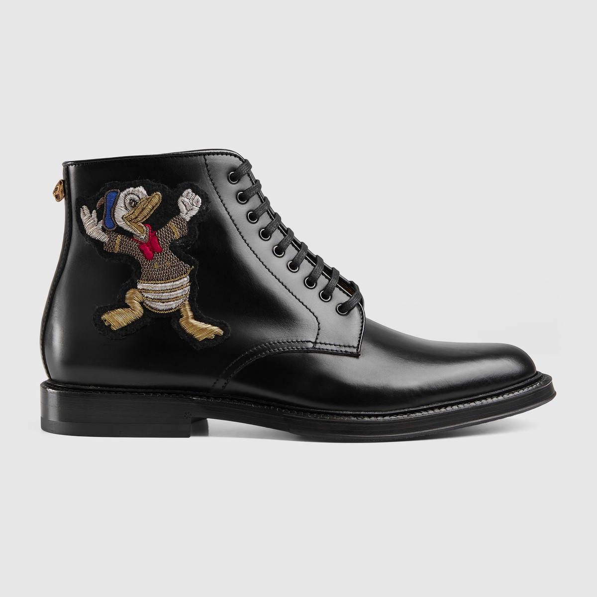 e766080656f GUCCI Leather Boot With Appliqués - Black Leather. #gucci #shoes ...