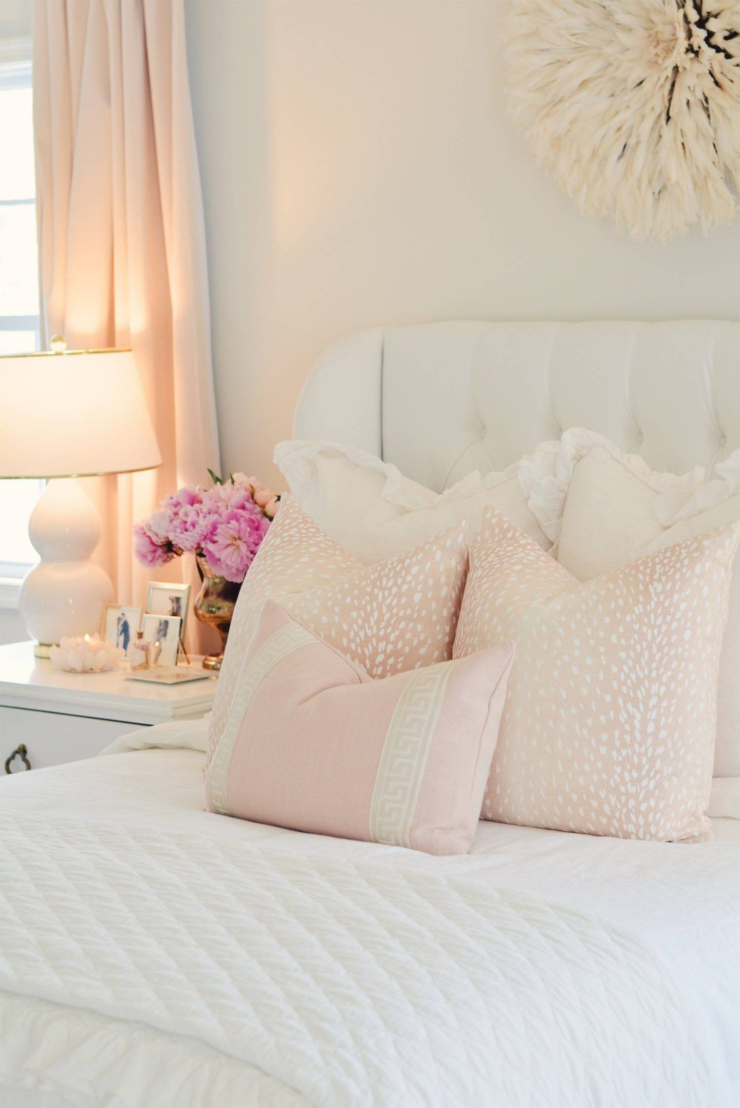 Elegant White Master Bedroom Blush Decorative Pillows White