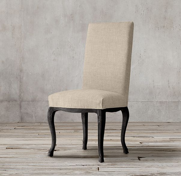 Four Dining Side Chairs   Louis XV Cabriole Fabric Side Chair In Black Oak  Drifted And