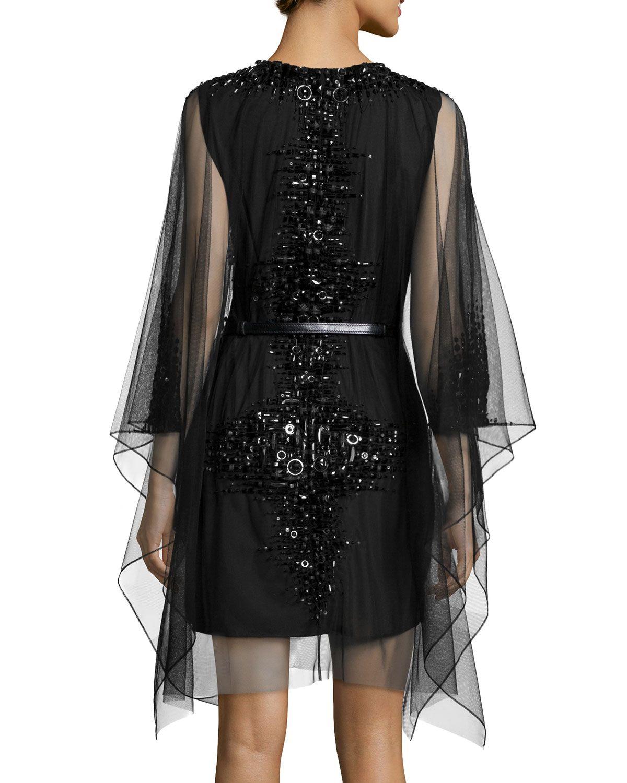 Moroccan Jeweled Mesh Dress, Onyx