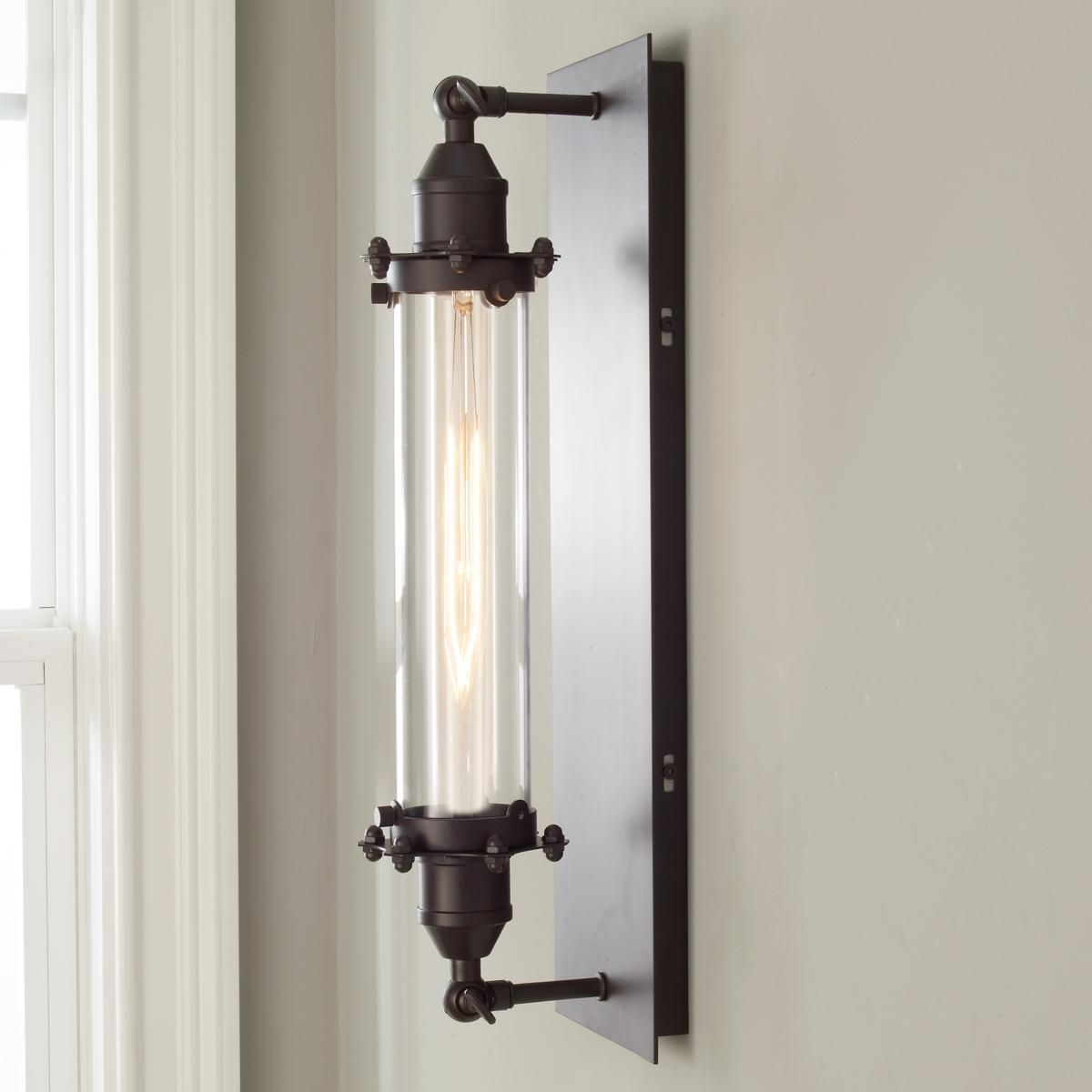 Plated Industrial Bolted Tube Sconce Industrial Lamp Sconces Industrial Wall Sconce