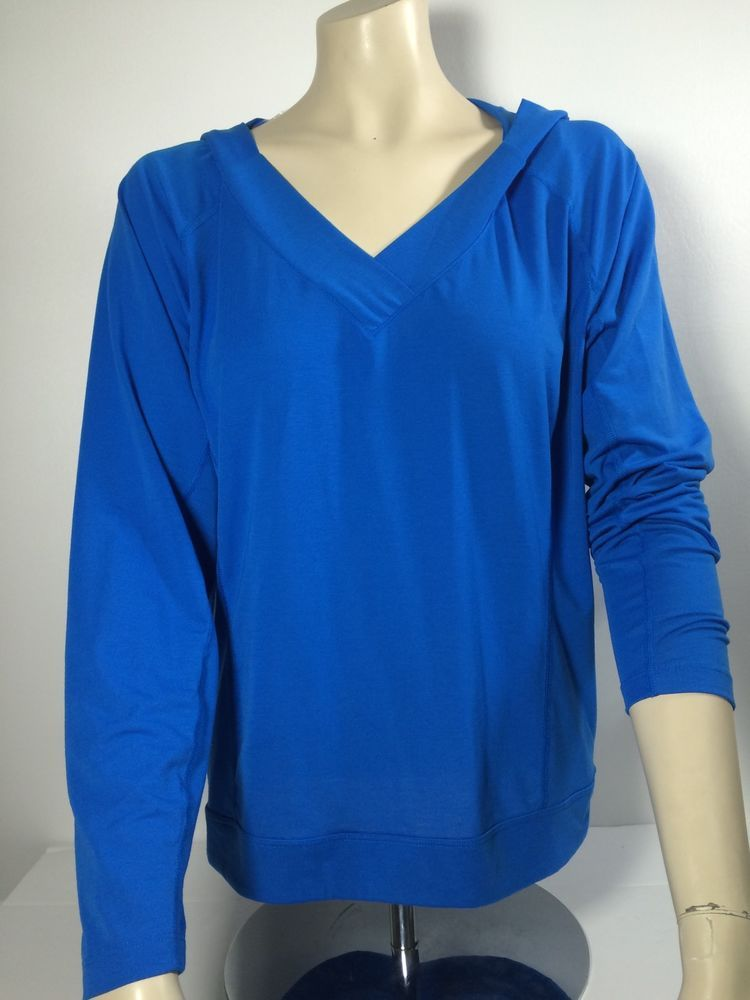 Lucy Tech Women's Long Sleeve Hoodie V-Neck Yoga Top Cinch Hem Royal Blue  #LucyActivewear #ShirtsTops