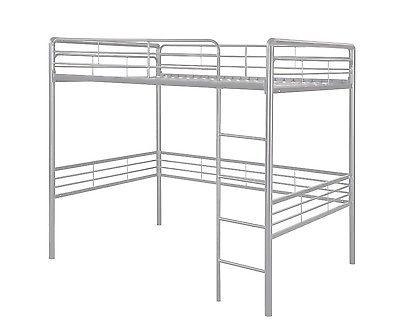 456920c392e53 New Modern Metal Loft Bed Bed Frame with Ladder in Silver Finish - size Full