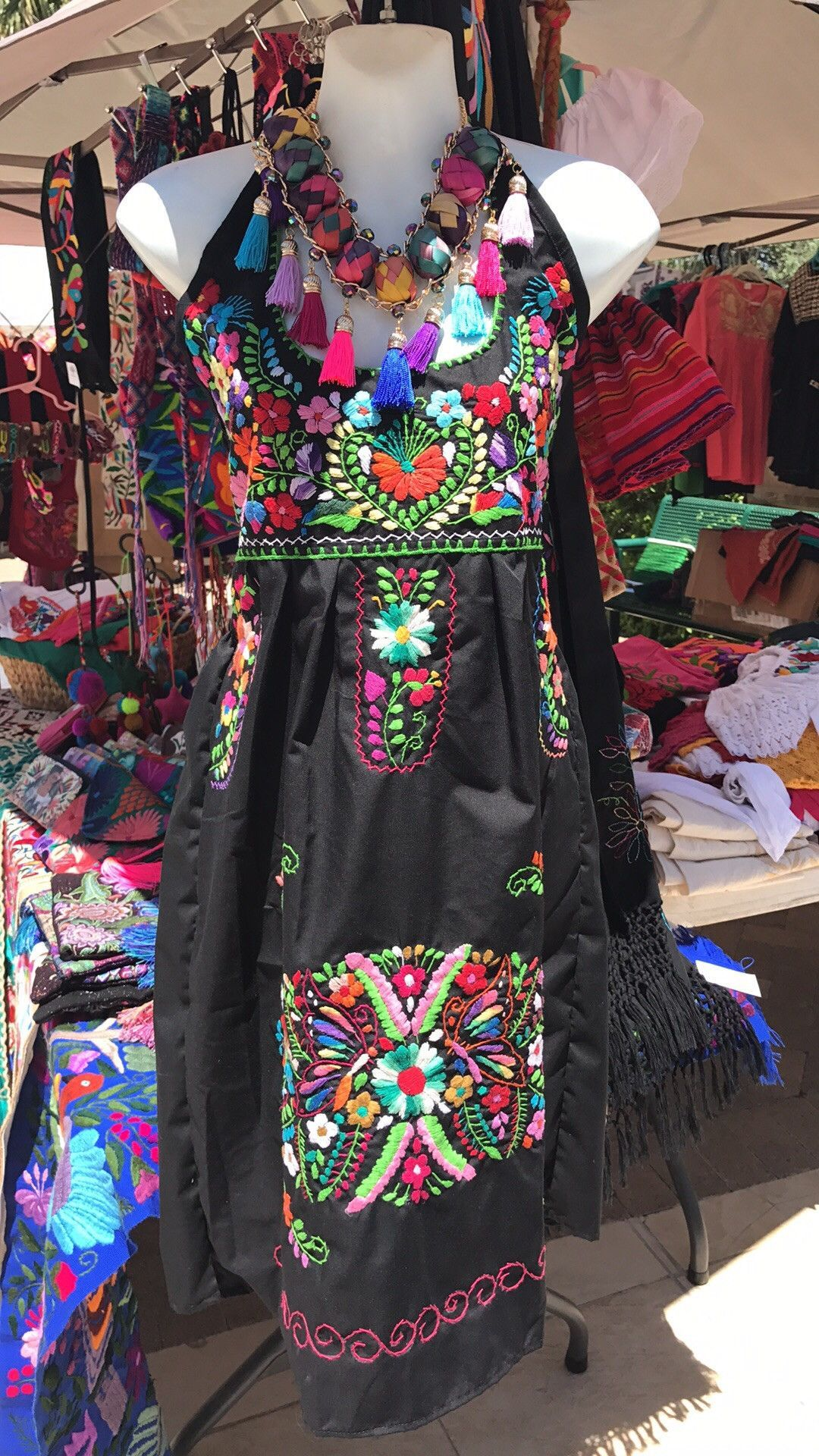 36329eb78858b Mexican Traditional Embroidered Halter Dress