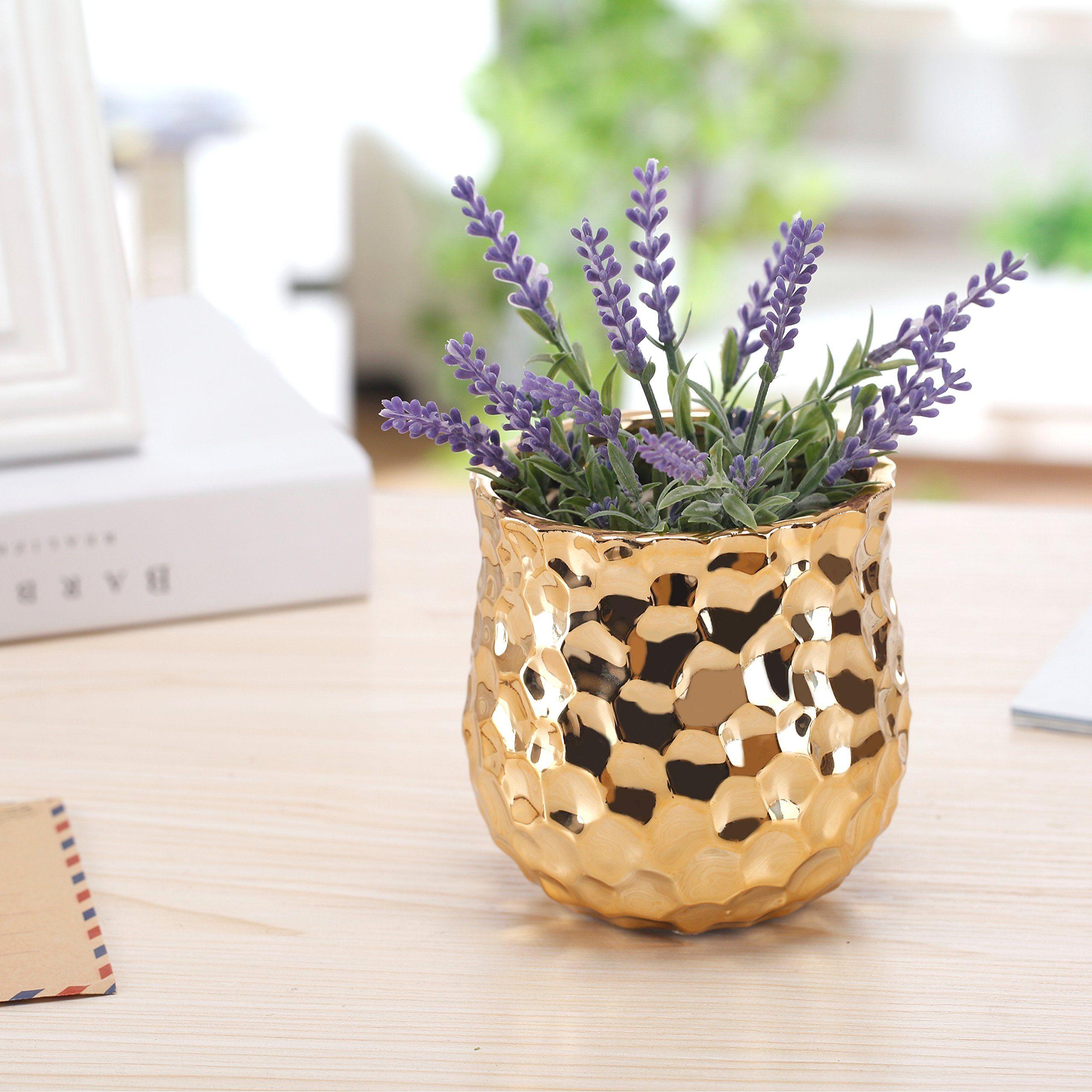 4inch ceramic flower plant vase with metallic goldtone