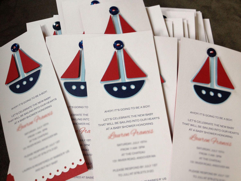 Sailboat Baby Shower Invitations (10). $25.00, via Etsy. | baby ...
