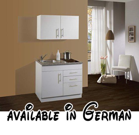 B00AH5C4LQ : Held Möbel 900.6513 Single Küche 100 Mit 2 Er  Glaskeramikkochfeld Weiß.