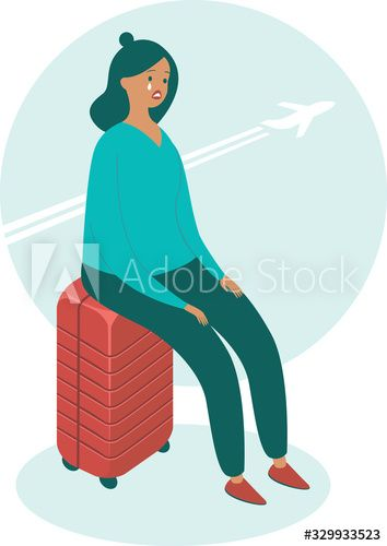 Upset woman sitting on her suitcase #Ad , #Sponsored, #woman, #Upset, #suitcase, #sitting