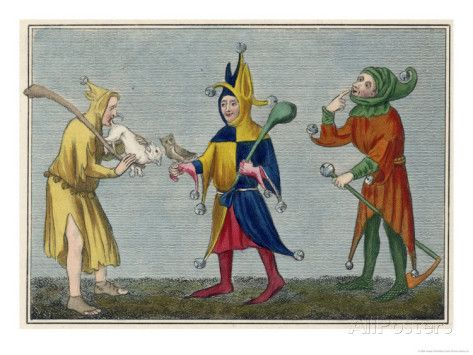 Kings Fool Harlequin Court Jester Hood Renaissance Middle ...  Jester Middle Ages Wear
