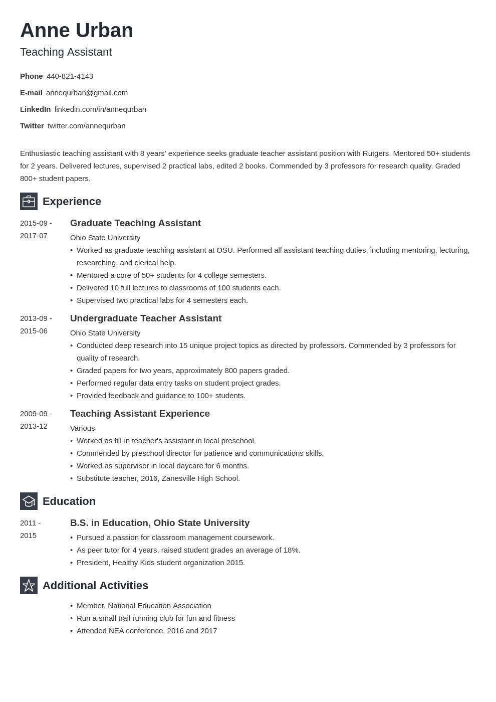 Teaching Assistant Resume Example Template Newcast Teaching Assistant Job Resume Examples Graduating Teacher