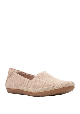 Clarks Danelly Flat Shoes. The slip-on flat shoes by Clarks have a perforated suede upper and a flexible elastic gore. They feature an Ultimate Comfort and include a removable EVA footbed that reduces shock.