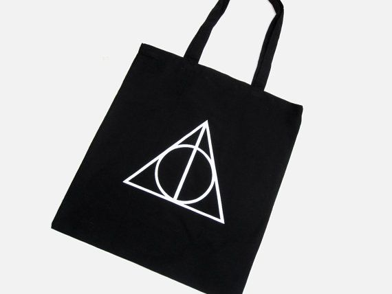 Deathly Hallows Symbol Tote Bag - Black 100% Cotton Harry Potter Hand Screen Printed