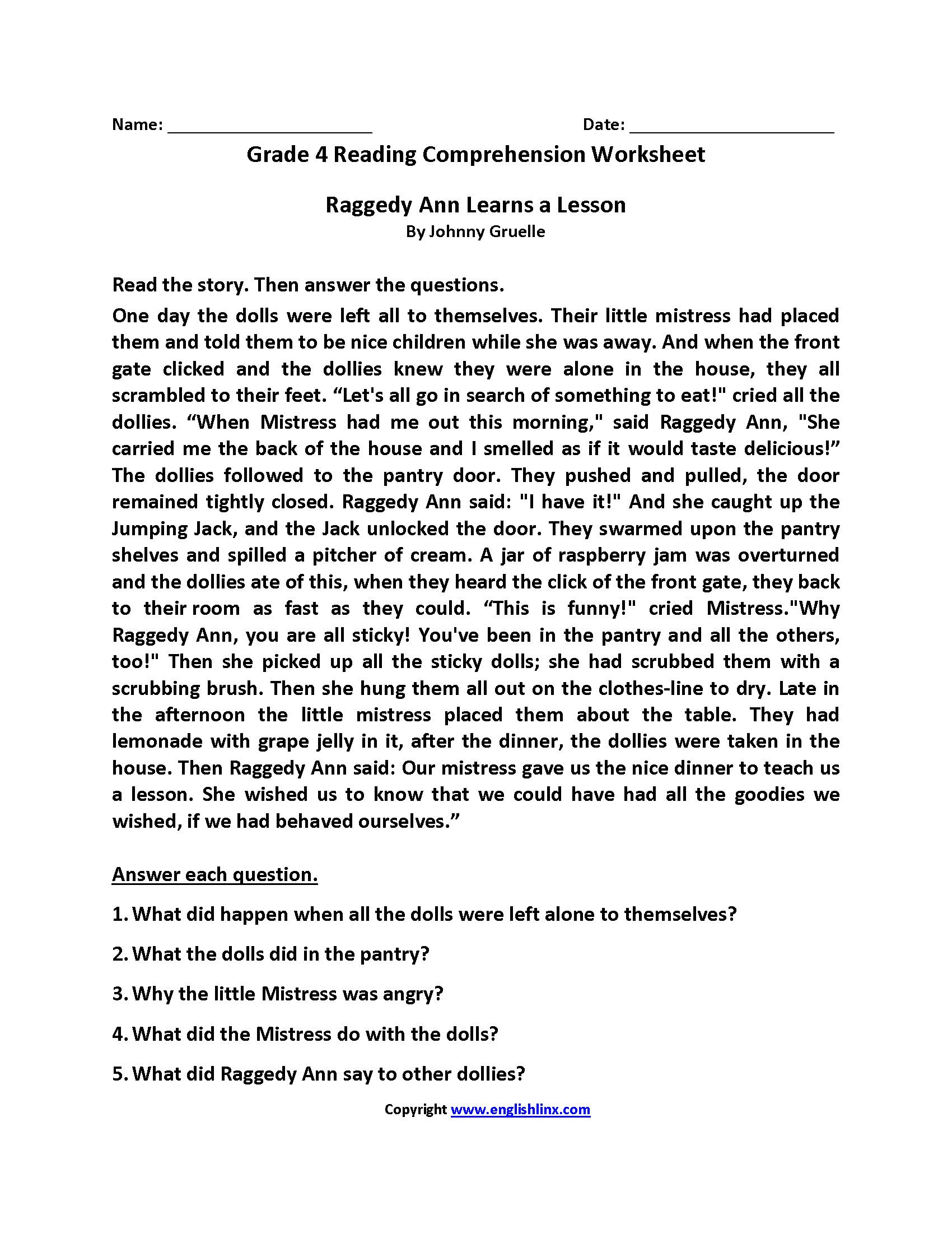 Reading Comprehension Worksheets Fourth Grade 4 4th Raggedy Ann Learns A Lesson Reading Comprehension Worksheets Comprehension Worksheets Reading Comprehension [ 2200 x 1700 Pixel ]