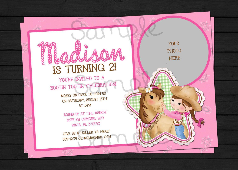 Pink Cowgirl Birthday Invitation Digital File by ShesTutuCuteBtq ...