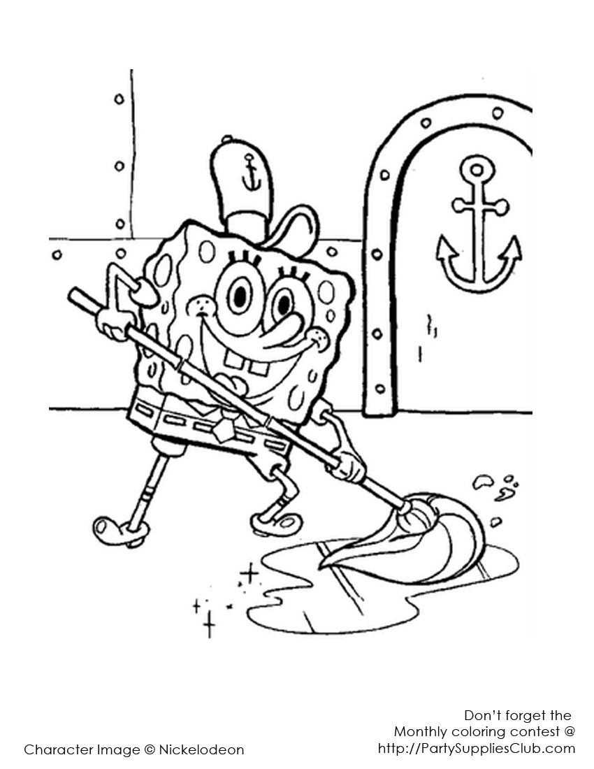 Sponge Bob at the Crusty Crab Coloring pictures for kids