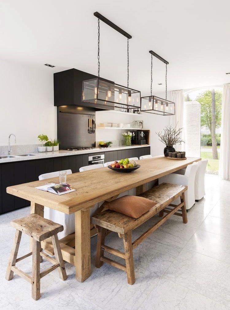 Uitzonderlijk Bank bij eettafel   Woonkamer - Lange keuken, Keukens en Tafel bankje &HJ44