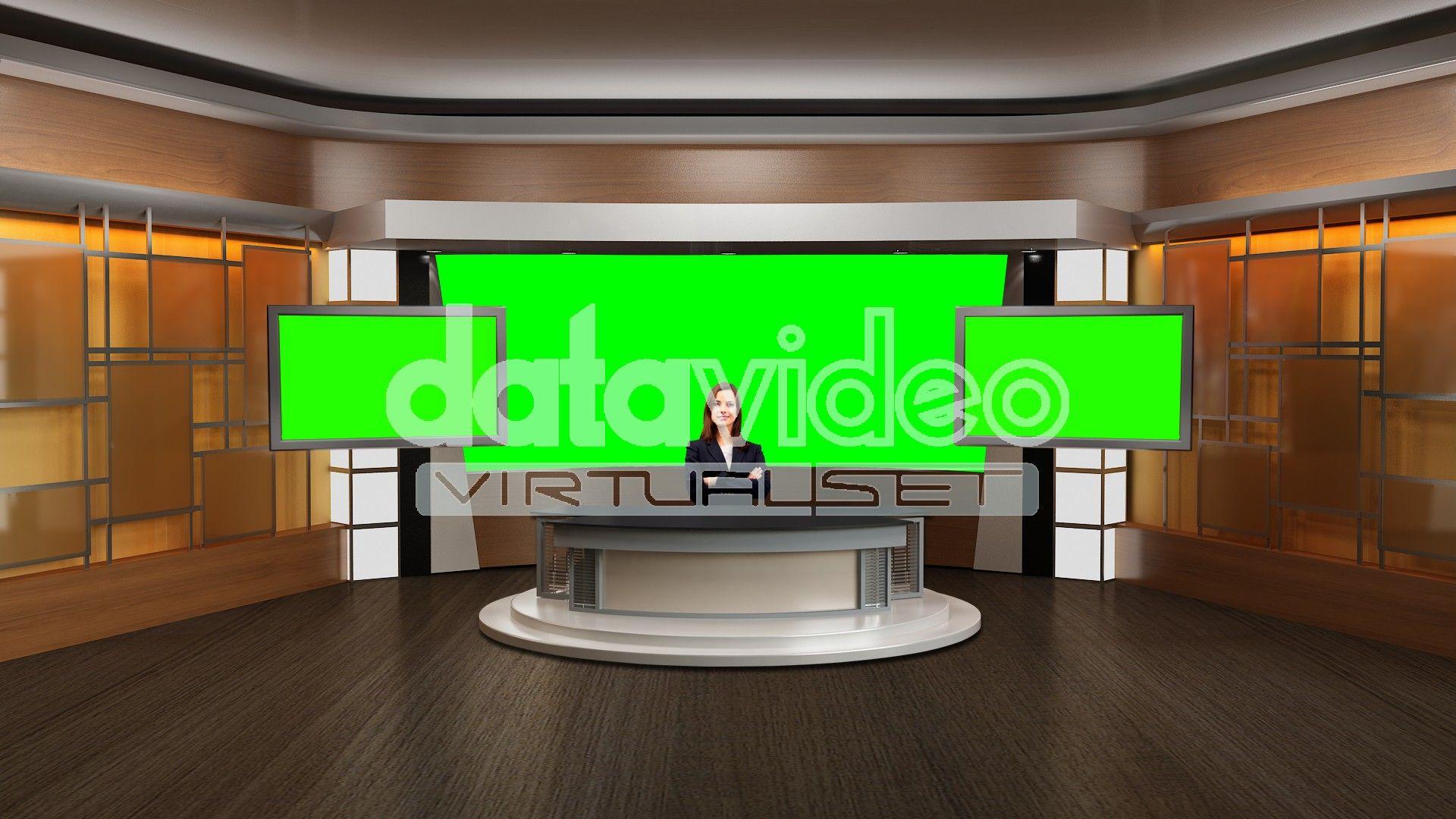 News 002 Tv Studio Set Virtual Green Screen Background Psd Green Screen Backgrounds Greenscreen Free Green Screen