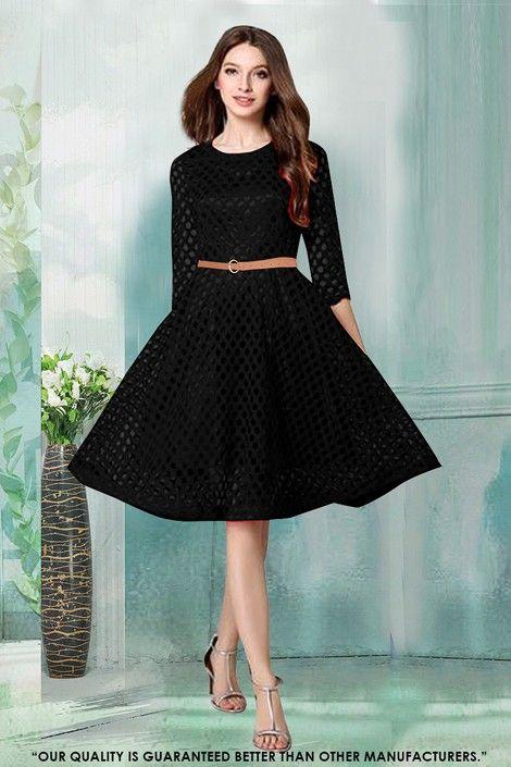 15cdbcd98 Party Wear Readymade Black Western Wear Dress - 30040