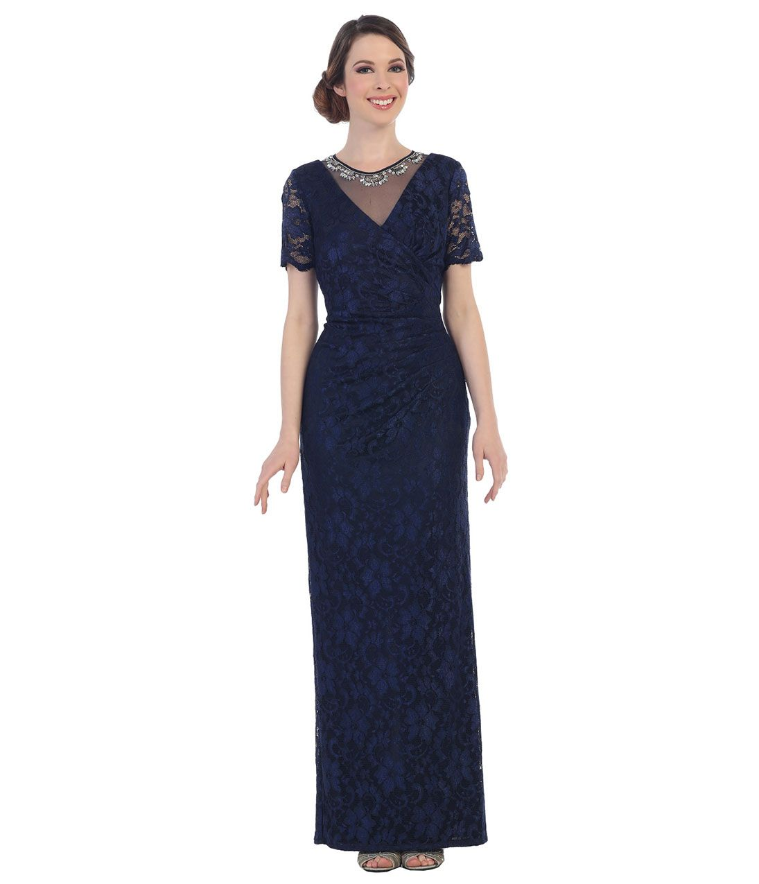 1920s Tail Party Dresses Navy Blue Modest V Neck Lace Short Sleeve Gown 123 00 At Vintagedancer