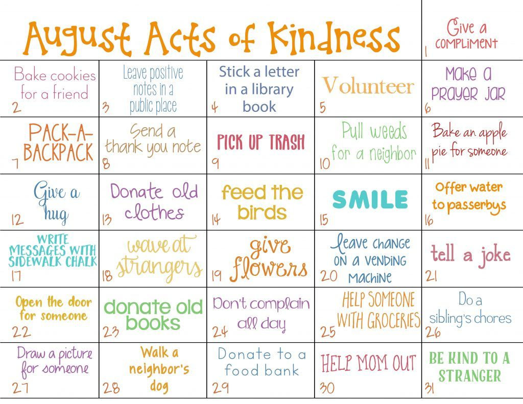 Kindness Calendar For August Acts Of Kindness For Kids Natural