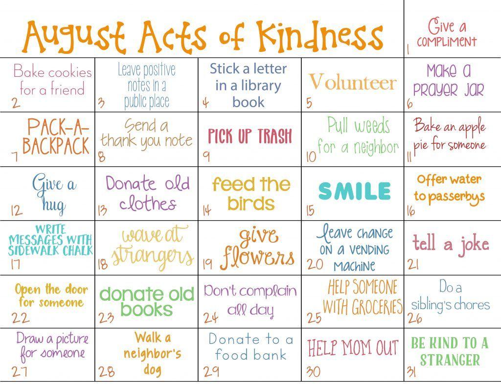 Kindness Calendar For August