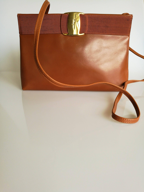 SALVATORE FERRAGAMO Vintage Tan   Brown Shoulder   Crossbody Bag   Clutch  by DelpheneAvenue on Etsy 91b5377a25028