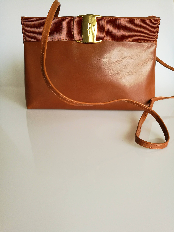 SALVATORE FERRAGAMO Vintage Tan   Brown Shoulder   Crossbody Bag   Clutch  by DelpheneAvenue on Etsy 7e083874f1644