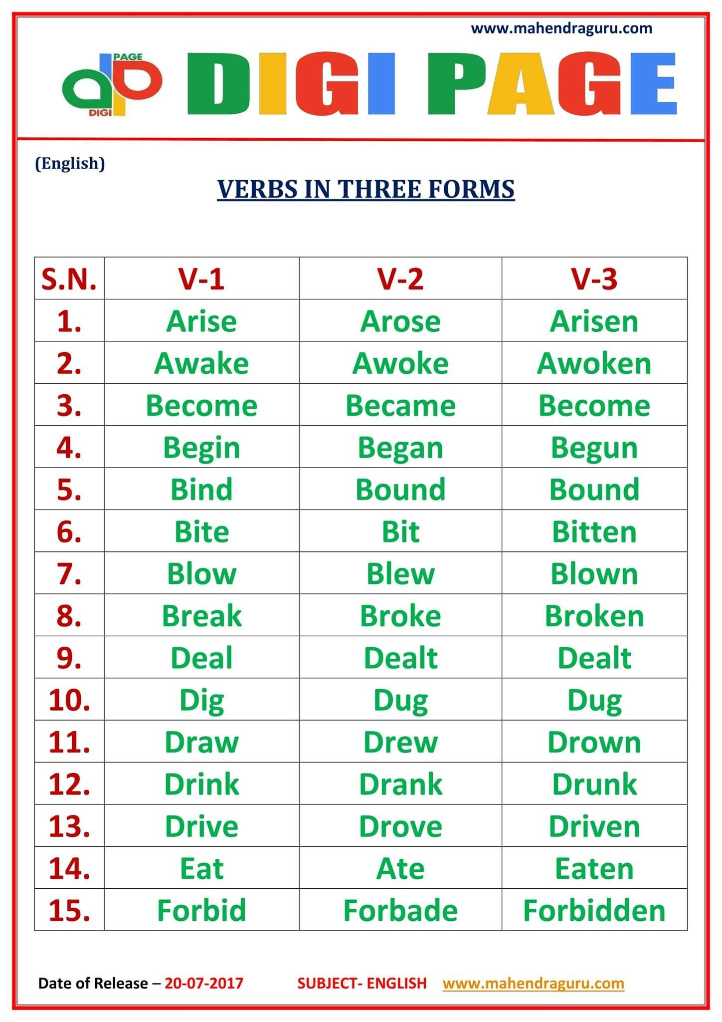 Dp Verbs In Three Forms 20