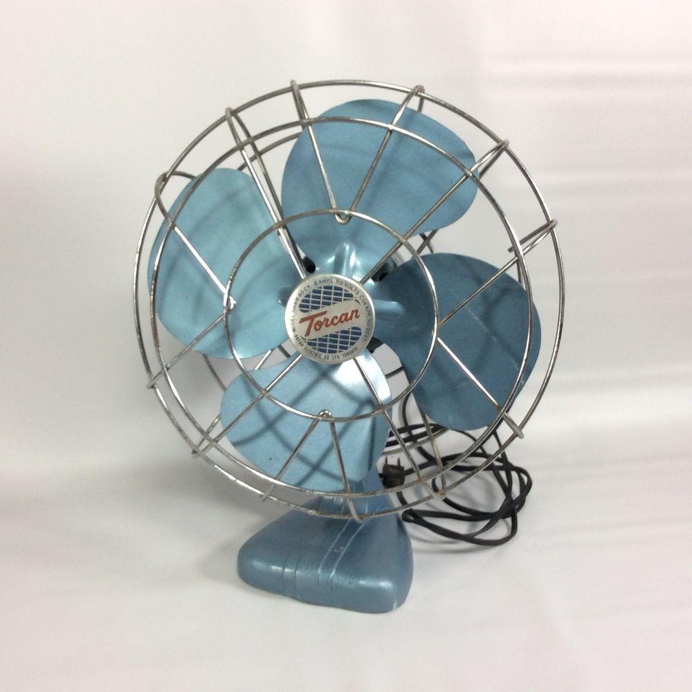 TORCAN Vintage Oscillating Fan Rotor Electric Co Toronto Model 1066M Blue Retro #Torcan