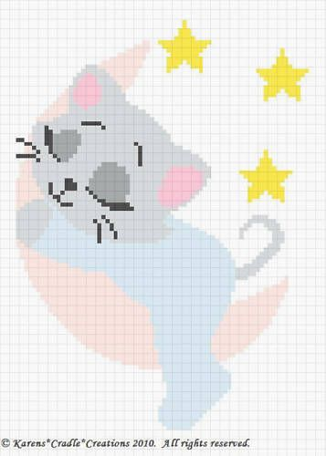 SLEEPY KITTEN ON THE MOON Baby Afghan Pattern ***EASY | Proyectos a ...