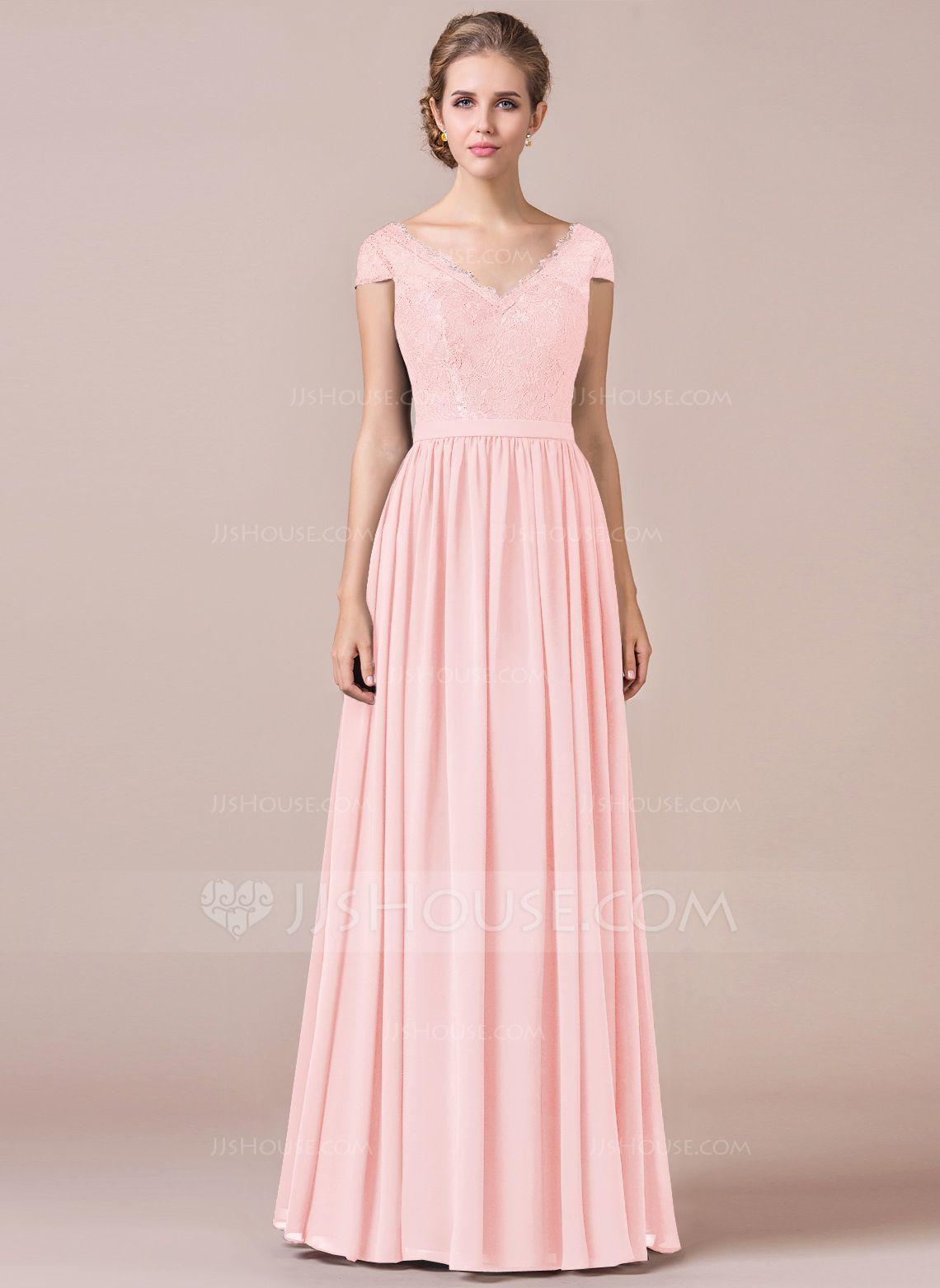 A-Line Cap Sleeve Floor-length Chiffon Bridesmaid Dress With Lace ...