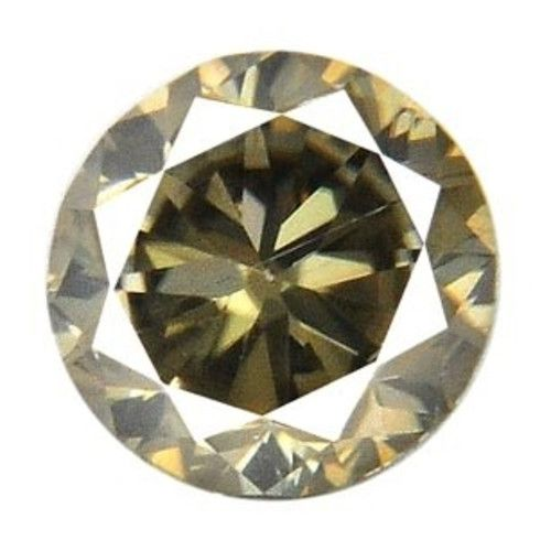 0.56  ct Round Cut Natural Clarity Enhanced Yellow Diamond Solitaire