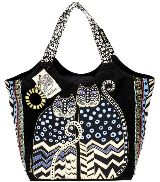 Laurel Burch Large Scoop Tote with Zipper Top-Spotted Cats at Joann.com