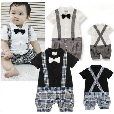 Newborn Baby In Summer White Black Jumpsuit Collar Cotton Short Sleeve