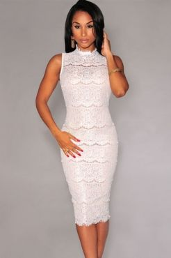 White Mock Neck Sleeveless Lace Bodycon Midi Dress | Dresses ...