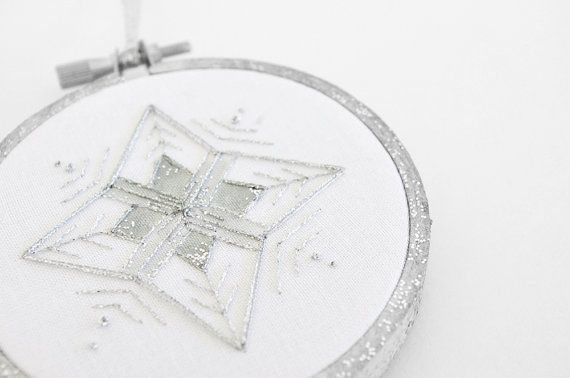 Silver Glitter Snowflake #Christmas Ornament  by sometimesiswirl